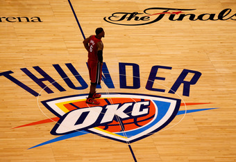 OKLAHOMA CITY, OK - JUNE 12:  LeBron James #6 of the Miami Heat looks on in the second half while taking on the Oklahoma City Thunder in Game One of the 2012 NBA Finals at Chesapeake Energy Arena on June 12, 2012 in Oklahoma City, Oklahoma. NOTE TO USER: