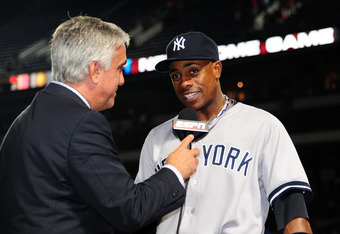 ATLANTA, GA - JUNE 13: Curtis Granderson #14 of the New York Yankees is interviewed after the game against the Atlanta Braves at Turner Field on June 13, 2012 in Atlanta, Georgia. (Photo by Scott Cunningham/Getty Images)