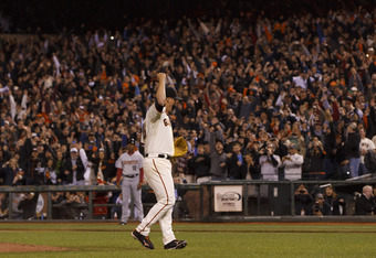 SAN FRANCISCO, CA - JUNE 13:  Matt Cain #18 of the San Francisco Giants celebrates after pitching a perfect game against the Houston Astros at AT&T Park on June 13, 2012 in San Francisco, California. The San Francisco Giants defeated the Houston Astros 10