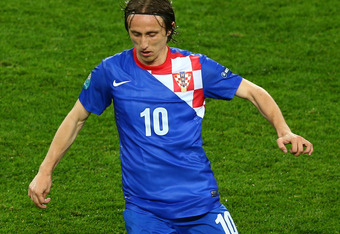 POZNAN, POLAND - JUNE 10: Luka Modric of Croatia with the ball during the UEFA EURO 2012 group C between Ireland and Croatia at The Municipal Stadium on June 10, 2012 in Poznan, Poland.  (Photo by Clive Mason/Getty Images)