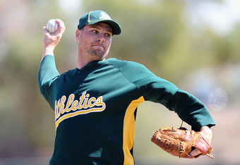PHOENIX - MARCH 10:  Starting pitcher Ben Sheets #15 of the Oakland Athletics pitches against the Chicago White Sox during the MLB spring training game at Phoenix Municipal Stadium on March 10, 2010 in Phoenix, Arizona.  (Photo by Christian Petersen/Getty