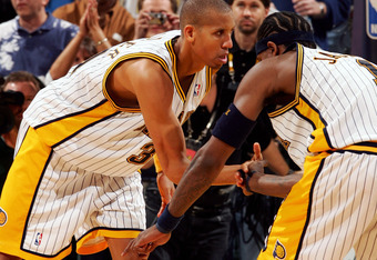 INDIANAPOLIS - MAY 13:  Reggie Miller #31 of the Indiana Pacers celebrates with Stephen Jackson #1 after making a shot in Game three of the Eastern Conference Semifinals during the 2005 NBA Playoffs at Conseco Fieldhouse on May 13, 2005 in Indianapolis, I