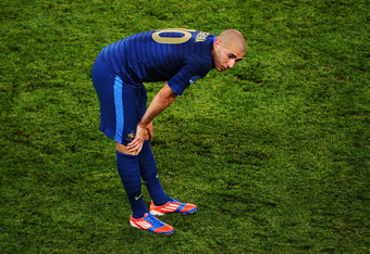 DONETSK, UKRAINE - JUNE 11:  Karim Benzema of France looks on during the UEFA EURO 2012 group D match between France and England at Donbass Arena on June 11, 2012 in Donetsk, Ukraine.  (Photo by Lars Baron/Getty Images)