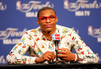 OKLAHOMA CITY, OK - JUNE 12:  Russell Westbrook #0 of the Oklahoma City Thunder answers questions after the Thunder defeat the Miami Heat 105-94 in Game One of the 2012 NBA Finals at Chesapeake Energy Arena on June 12, 2012 in Oklahoma City, Oklahoma. NOT