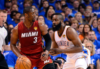 OKLAHOMA CITY, OK - JUNE 12:  Dwyane Wade #3 of the Miami Heat posts up James Harden #13 of the Oklahoma City Thunder in the first quarter in Game One of the 2012 NBA Finals at Chesapeake Energy Arena on June 12, 2012 in Oklahoma City, Oklahoma. NOTE TO U