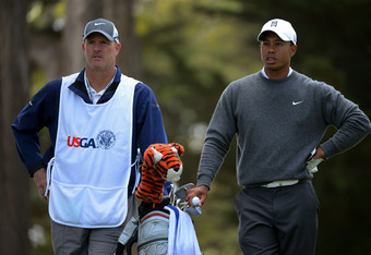 SAN FRANCISCO, CA - JUNE 14:  Tiger Woods of the United States waits with his caddie Joe Lacava on the third hole during the first round of the 112th U.S. Open at The Olympic Club on June 14, 2012 in San Francisco, California.  (Photo by Harry How/Getty I