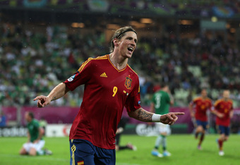 GDANSK, POLAND - JUNE 14:  Fernando Torres of Spain celebrates scoring their thrid goal during the UEFA EURO 2012 group C match between Spain and Ireland at The Municipal Stadium on June 14, 2012 in Gdansk, Poland.  (Photo by Alex Grimm/Getty Images)