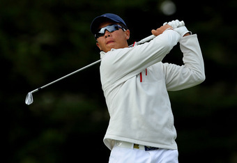 SAN FRANCISCO, CA - JUNE 14:  Amateur Andy Zhang of China hits his tee shot on the fourth hole during the first round of the 112th U.S. Open at The Olympic Club on June 14, 2012 in San Francisco, California.  (Photo by Jeff Gross/Getty Images)