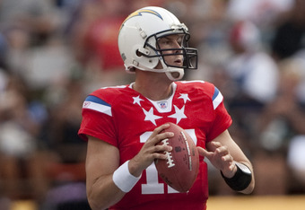 HONOLULU - JANUARY 30:  Philip Rivers, #17 of the San Diego Chargers, passes against the NFC team during the 2011 NFL Pro Bowl at Aloha Stadium on January 30, 2011 in Honolulu, Hawaii.  (Photo by Kent Nishimura/Getty Images)