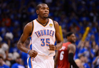 OKLAHOMA CITY, OK - JUNE 12:  Kevin Durant #35 of the Oklahoma City Thunder reacts in front of LeBron James #6 of the Miami Heat in the first half in Game One of the 2012 NBA Finals at Chesapeake Energy Arena on June 12, 2012 in Oklahoma City, Oklahoma. N