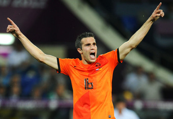 KHARKOV, UKRAINE - JUNE 13:  Robin van Persie of Netherlands reacts during the UEFA EURO 2012 group B match between Netherlands and Germany at Metalist Stadium on June 13, 2012 in Kharkov, Ukraine.  (Photo by Lars Baron/Getty Images)