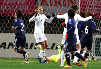 SENDAI, JAPAN - APRIL 01: Alex Morgan #13 of United States celebrates the first goal during the international friendly match between Japan and United States at Yurtex Stadium Sendai on April 1, 2012 in Sendai, Japan. (Photo by Koji Watanabe/Getty Images)