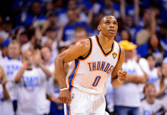OKLAHOMA CITY, OK - JUNE 14:  Russell Westbrook #0 of the Oklahoma City Thunder looks up in the fourth quarter while taking on the Miami Heat in Game Two of the 2012 NBA Finals at Chesapeake Energy Arena on June 14, 2012 in Oklahoma City, Oklahoma. NOTE T