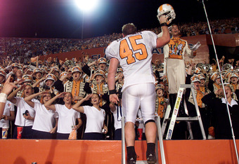 01 Dec 2001: Will Bartholomew #45  of Tennessee leads the band after beating Florida at Florida Field at the University of Florida in Gainesville, Florida.   Tennessee won 34-32.   DIGITAL IMAGE   Mandatory Credit: Andy Lyons/ALLSPORT