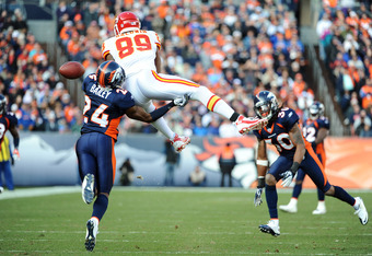DENVER, CO - JANUARY 1: Champ Bailey #24 of the Denver Broncos breaks up the catch by Jonathan Baldwin #89 of the Kansas City Chiefs at Sports Authority Field at Mile High on January 1, 2012 in Denver, Colorado.  (Photo by Garrett W. Ellwood/Getty Images)
