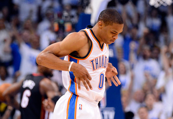 OKLAHOMA CITY, OK - JUNE 14:  Russell Westbrook #0 of the Oklahoma City Thunder reacts after making a basket in the third quarter against the Miami Heat in Game Two of the 2012 NBA Finals at Chesapeake Energy Arena on June 14, 2012 in Oklahoma City, Oklah