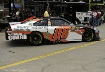 The No. 88 Chevrolet of Dale Earnhardt Jr. rolls through the garage.  Credit: David Yeazell