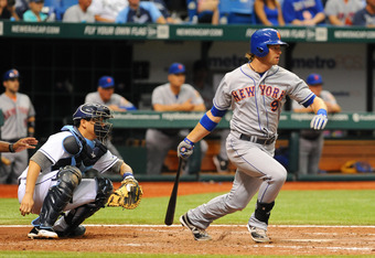 ST. PETERSBURG, FL - JUNE 14:  Outfielder Kirk Nieuwenhuis #9 of the New York Mets grounds out against the Tampa Bay Rays June 14, 2012  at Tropicana Field in St. Petersburg, Florida.  Niewenhuis had two home runs and the Mets won 9 - 6. (Photo by Al Mess