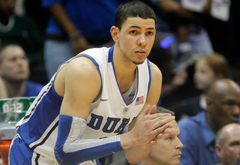 ATLANTA, GA - MARCH 10:  Austin Rivers #30 of the Duke Blue Devils during the semifinals of the 2012 ACC Men's Basketball Conferene Tournament at Philips Arena on March 10, 2012 in Atlanta, Georgia.  (Photo by Streeter Lecka/Getty Images)