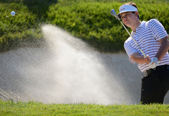 SAN FRANCISCO, CA - JUNE 15:  Amateur Beau Hossler of the United States plays a bunker shot on the eighth hole during the second round of the 112th U.S. Open at The Olympic Club on June 15, 2012 in San Francisco, California.  (Photo by Harry How/Getty Ima