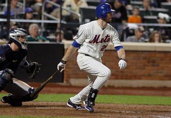 NEW YORK, NY - MAY 25: Ike Davis #29 of the New York Mets hits a two-run single in the fifth inning duirng the game against the San Diego Padres at CitiField on May 25, 2012 in the Flushing neighborhood of the Queens borough of New York City.  (Photo by M