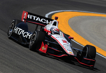 WEST ALLIS, WI - JUNE 15: Ryan Briscoe of Australia, drives the #2 Hitachi Team Penske Chevrolet Dallara during practice for the IZOD IndyCar Series Milwaukee IndyFest presented by XYQ at The Milwaukee Mile on June 15, 2012 in West Allis, Wisconsin.  (Pho