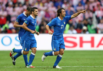 POZNAN, POLAND - JUNE 14:  Andrea Pirlo of Italy celebrates scoring the opening goal during the UEFA EURO 2012 group C match between Italy and Croatia at The Municipal Stadium on June 14, 2012 in Poznan, Poland.  (Photo by Clive Mason/Getty Images)