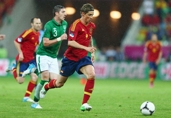 GDANSK, POLAND - JUNE 14:  Fernando Torres of Spain breaks forward to score their thrid goal during the UEFA EURO 2012 group C match between Spain and Ireland at The Municipal Stadium on June 14, 2012 in Gdansk, Poland.  (Photo by Michael Steele/Getty Ima