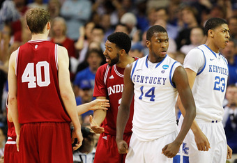 ATLANTA, GA - MARCH 23:  Michael Kidd-Gilchrist #14 and Anthony Davis #23 of the Kentucky Wildcats react as Christian Watford #2 and Cody Zeller #40 of the Indiana Hoosiers look on in the second half during the 2012 NCAA Men's Basketball South Regional Se