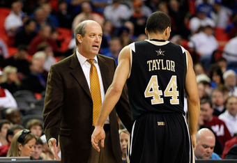 ATLANTA, GA - MARCH 11:  head coach Kevin Stallings talks to Jeffery Taylor #44 of the Vanderbilt Commodores during their game against the Mississippi State Bulldogs in the quarterfinals of the SEC Men's Basketball Tournament at Georgia Dome on March 11,