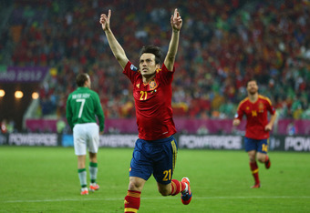 GDANSK, POLAND - JUNE 14:  David Silva of Spain celebrates scoring his goal during the UEFA EURO 2012 group C match between Spain and Ireland at The Municipal Stadium on June 14, 2012 in Gdansk, Poland.  (Photo by Michael Steele/Getty Images)