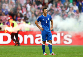 POZNAN, POLAND - JUNE 14:  Cristian Maggio of Italy looks on during the UEFA EURO 2012 group C match between Italy and Croatia at The Municipal Stadium on June 14, 2012 in Poznan, Poland.  (Photo by Clive Mason/Getty Images)