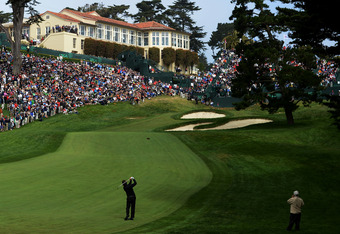 SAN FRANCISCO, CA - JUNE 14:  Phil Mickelson of the United States watches a shot on the 18th hole during the first round of the 112th U.S. Open at The Olympic Club on June 14, 2012 in San Francisco, California.  (Photo by Harry How/Getty Images)