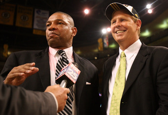 BOSTON - JUNE 17:  Head coach Doc Rivers and Executive Director of Basketball Operations Danny Ainge of the Boston Celtics celebrate after defeating the Los Angeles Lakers in Game Six of the 2008 NBA Finals on June 17, 2008 at TD Banknorth Garden in Bosto