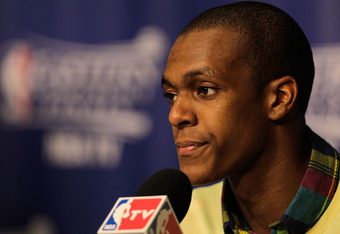 MIAMI, FL - JUNE 09:  Rajon Rondo #9 of the Boston Celtics speaks with the media after losing to the Miami Heat in Game Seven of the Eastern Conference Finals in the 2012 NBA Playoffs at American Airlines Arena on June 9, 2012 in Miami, Florida.  (Photo b