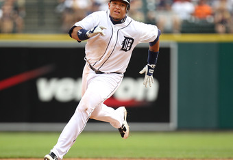 DETROIT, MI - JUNE 16: Miguel Cabrera #24 of the Detroit Tigers rounds second base on his way to scoring on a play that began with him hitting the ball off the pitcher and included errors on the Colorado Rockies at Comerica Park on June 16, 2012 in Detroi