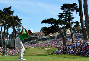 SAN FRANCISCO, CA - JUNE 16:  Tiger Woods of the United States hits his tee shot on the eighth hole during the third round of the 112th U.S. Open at The Olympic Club on June 16, 2012 in San Francisco, California.  (Photo by Stuart Franklin/Getty Images)