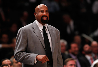 NEW YORK, NY - MAY 03: Head coach Mike Woodson of the New York Knicks coaches against the Miami Heat in Game Three of the Eastern Conference Quarterfinals in the 2012 NBA Playoffs on May 3, 2012 at Madison Square Garden in New York City.  NOTE TO USER: Us