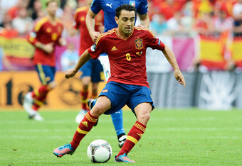 GDANSK, POLAND - JUNE 10:  Xavi of Spain with the ball during the UEFA EURO 2012 group C match between Spain and Italy at The Municipal Stadium on June 10, 2012 in Gdansk, Poland.  (Photo by Claudio Villa/Getty Images)