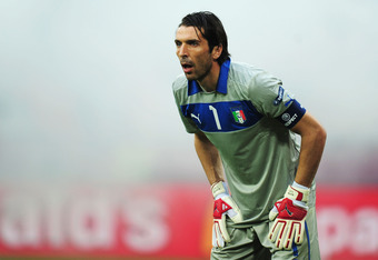 POZNAN, POLAND - JUNE 14:  Gianluigi Buffon of Italy in action during the UEFA EURO 2012 group C match between Italy and Croatia at The Municipal Stadium on June 14, 2012 in Poznan, Poland.  (Photo by Jamie McDonald/Getty Images)