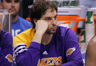 OKLAHOMA CITY, OK - MAY 14: Pau Gasol #16 of the Los Angeles Lakers watches near the end of the game against the Oklahoma City Thunder in Game One of the Western Conference Semifinals in the 2012 NBA Playoffs on May 14, 2012 at the Chesapeake Energy Arena