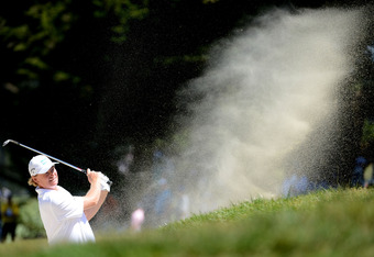 SAN FRANCISCO, CA - JUNE 16:  Ernie Els of South Africa plays a bunker shot on the seventh hole during the third round of the 112th U.S. Open at The Olympic Club on June 16, 2012 in San Francisco, California.  (Photo by Harry How/Getty Images)