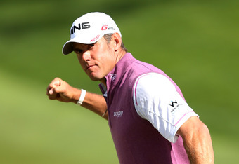 SAN FRANCISCO, CA - JUNE 16:  Lee Westwood of England celebrates his birdie putt on the 18th hole during the third round of the 112th U.S. Open at The Olympic Club on June 16, 2012 in San Francisco, California.  (Photo by Ezra Shaw/Getty Images)