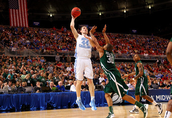 ST. LOUIS, MO - MARCH 23:  Tyler Zeller #44 of the North Carolina Tar Heels attempts a shot against Reggie Keely #30 of the Ohio Bobcats during the 2012 NCAA Men's Basketball Midwest Regional Semifinal at Edward Jones Dome on March 23, 2012 in St. Louis,