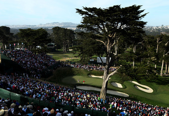 SAN FRANCISCO, CA - JUNE 16:  A general view of the 18th green during the third round of the 112th U.S. Open at The Olympic Club on June 16, 2012 in San Francisco, California.  (Photo by David Cannon/Getty Images)