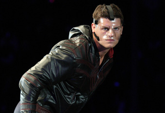 DURBAN, SOUTH AFRICA - JULY 08:  WWE Superstar Cody Rhodes is introduced during the WWE Smackdown Live Tour at Westridge Park Tennis Stadium on July 08, 2011 in Durban, South Africa.  (Photo by Steve Haag/Gallo Images/Getty Images)