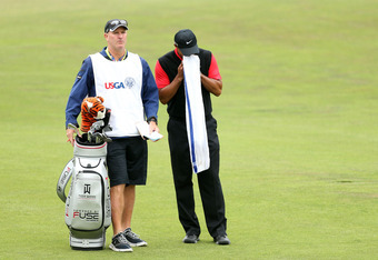 SAN FRANCISCO, CA - JUNE 17:  Tiger Woods of the United States waits with his caddie Joe Lacava on the second hole during the final round of the 112th U.S. Open at The Olympic Club on June 17, 2012 in San Francisco, California.  (Photo by Andrew Redington