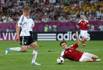 L'VIV, UKRAINE - JUNE 17:  Lars Bender of Germany scores their second goal during the UEFA EURO 2012 group B match between Denmark and Germany at Arena Lviv on June 17, 2012 in L'viv, Ukraine.  (Photo by Joern Pollex/Getty Images)