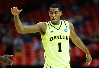 ATLANTA, GA - MARCH 23:  Perry Jones III #1 of the Baylor Bears celebrates in the first half against the Xavier Musketeers during the 2012 NCAA Men's Basketball South Regional Semifinal game at the Georgia Dome on March 23, 2012 in Atlanta, Georgia.  (Pho
