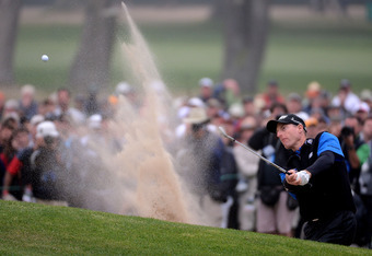 SAN FRANCISCO, CA - JUNE 17:  Jim Furyk of the United States plays a bunker shot on the 17th hole during the final round of the 112th U.S. Open at The Olympic Club on June 17, 2012 in San Francisco, California.  (Photo by Harry How/Getty Images)